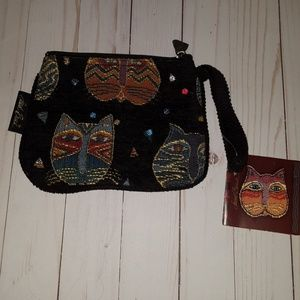 LAUREL BURCH cat tapestry wristlet handbag
